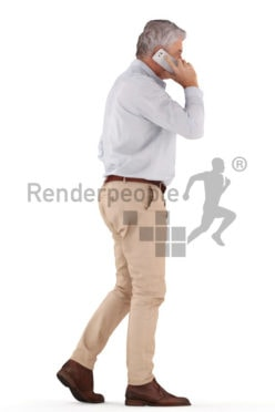 3d people casual business, best ager man walking and calling with cellphone