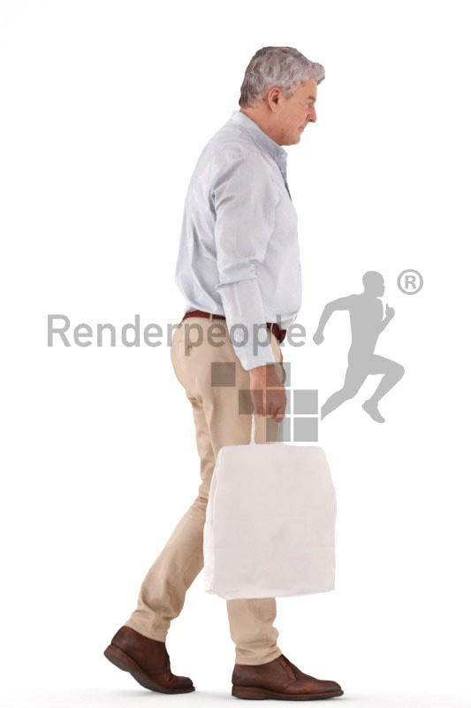 3d people casual business, best ager man walking and holding a bag