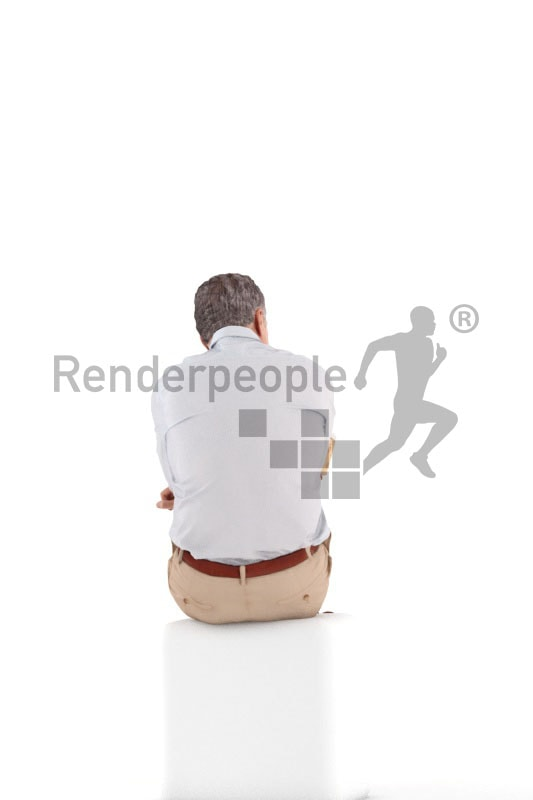 3d people casual business, best ager man sitting and holding a cup