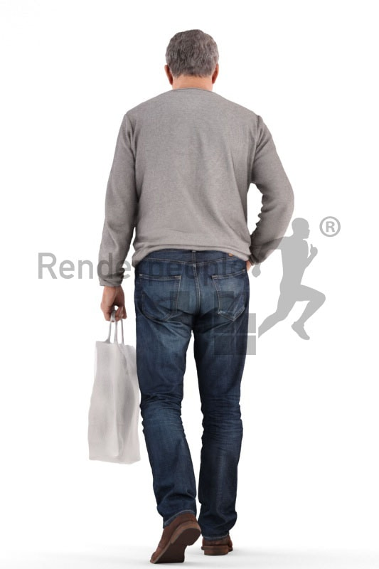 3d people casual, best ager man walking and holding a bag