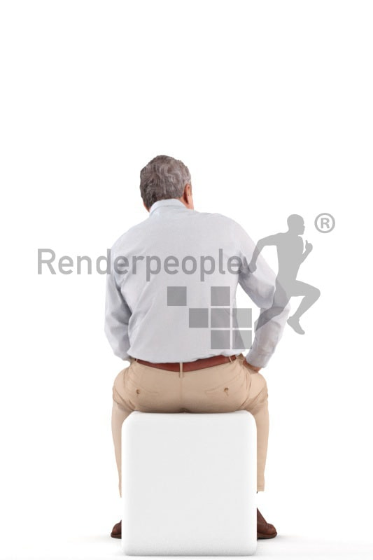 3d people business, best ager man sitting and smiling