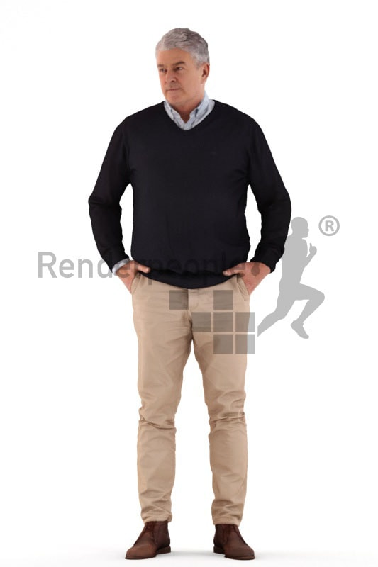 3d people casual, best ager man standing and waiting