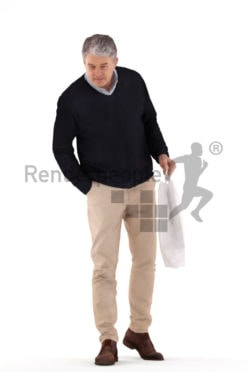 3d people casual, best ager man shopping and holding a bag