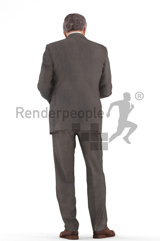 3d people business, best ager man standing and looking into a folder