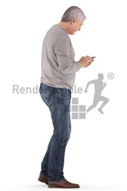 3d people casual, best ager man standing and looking on his phone