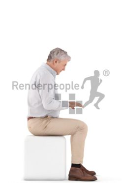 3d people business, best ager man sitting and typing