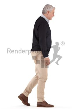 3d people casual, best ager man walking