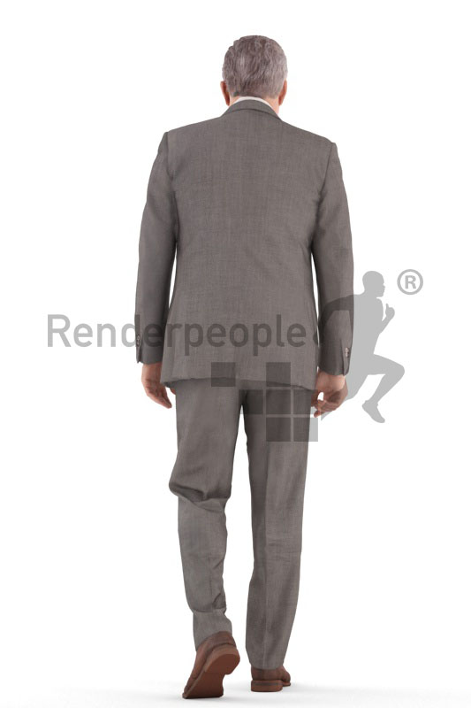 3d people business, best ager man walking