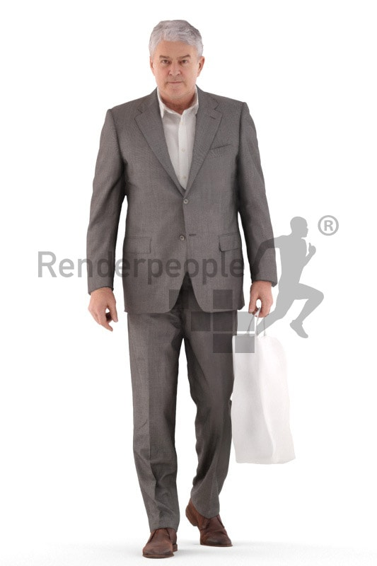 3d people business, best ager man walking