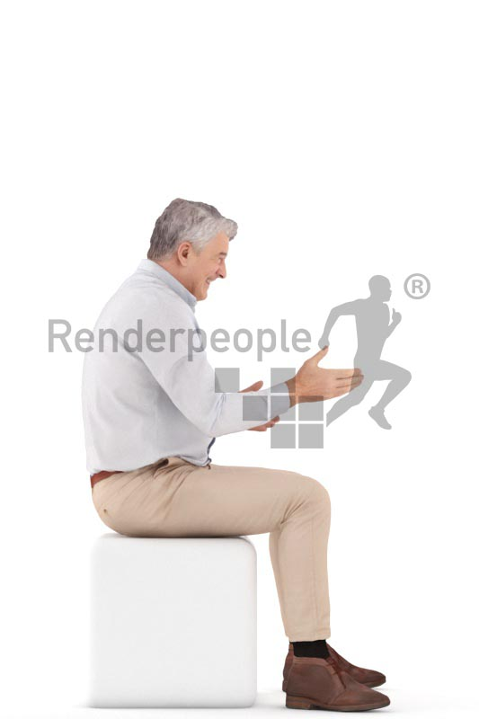 3d people business, best ager man sitting