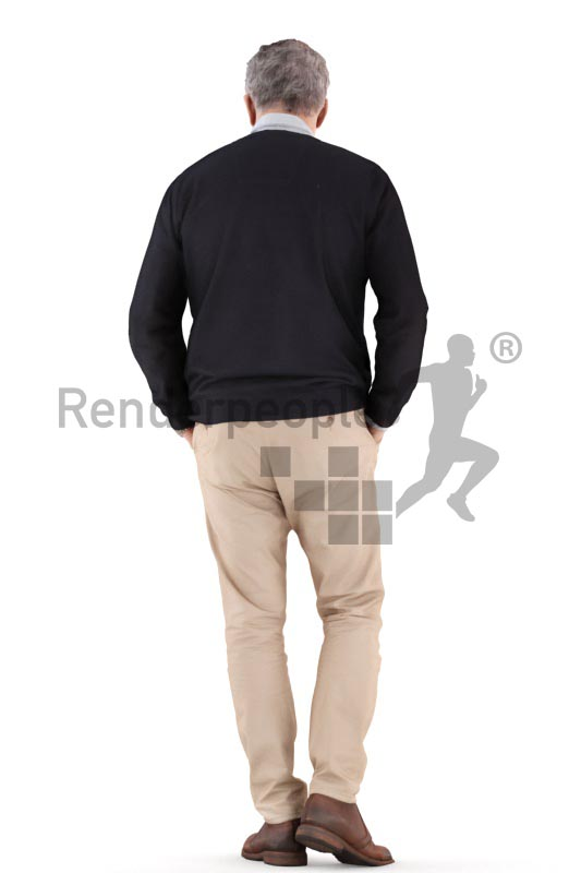 3d people casual, best ager man walking with hands in his pokets