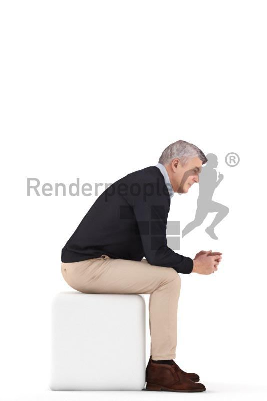 3d people casual, best ager man sitting