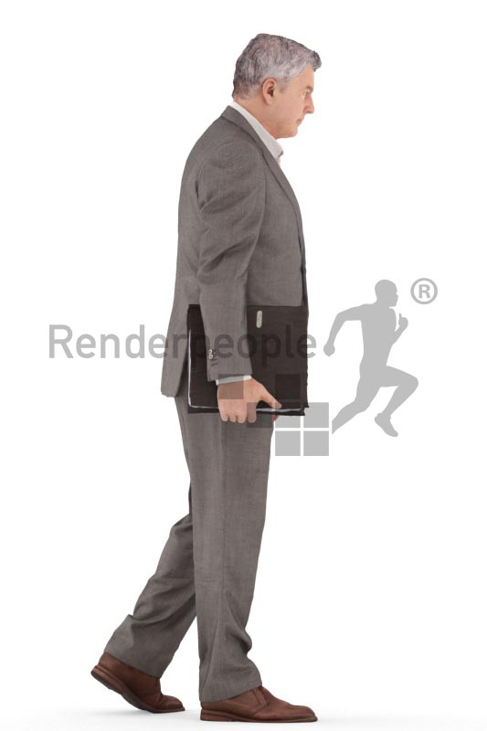 3d people business, best ager man walking with folder