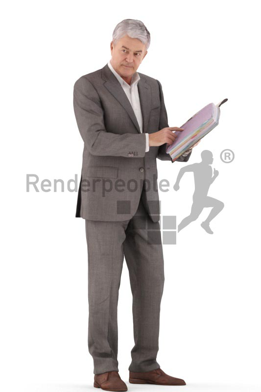 3d people business, best ager man standing with folder