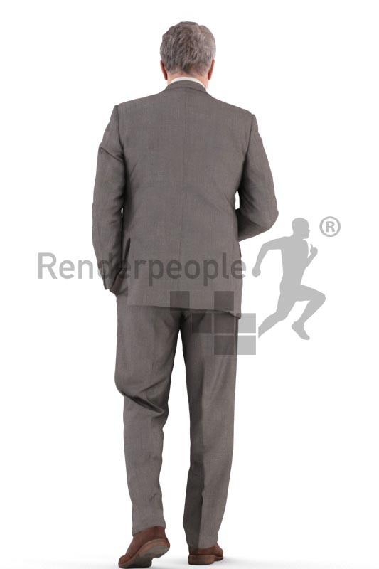 3d people business, best ager man walking with a cup of coffee