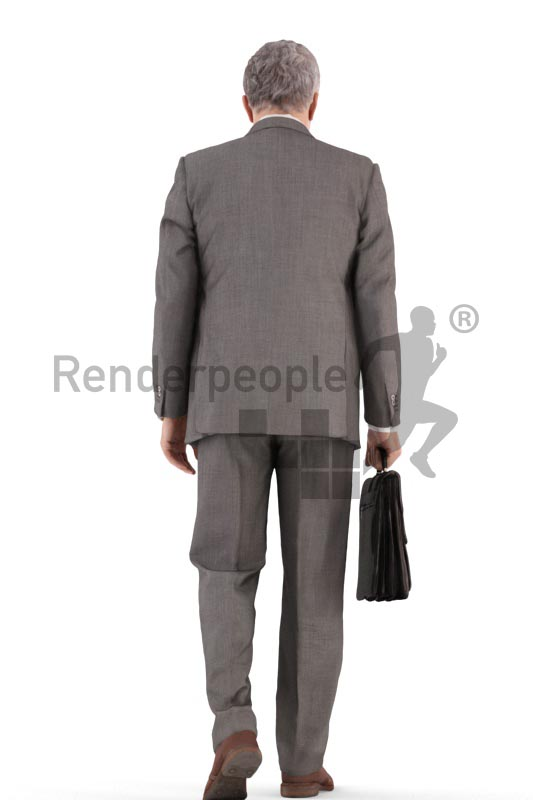 3d people business, best ager man walking with a briefcase