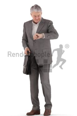 3d people business, best ager man standing looking at his watch