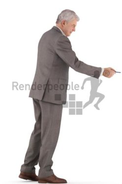 3d people business, best ager man standing and paying with his creditcard