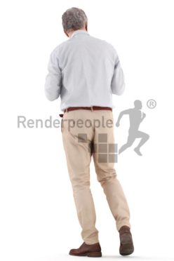3d people casual, best ager man walking, talking and drinking coffee