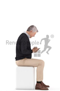 3d people casual, best ager man sitting and texting