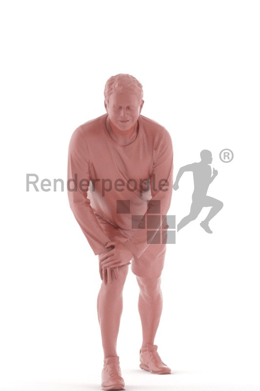 3d people sports, best ager man stretching