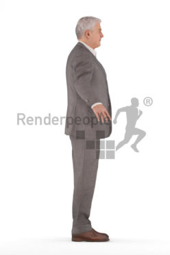 3d people business, rigged elderly man in A Pose