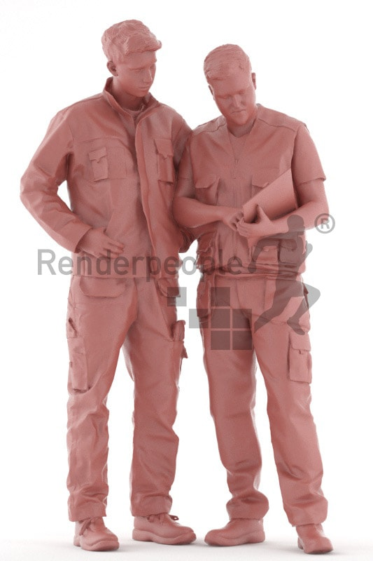 3d people worker, white 3d men discussing and showing something on a clipboard