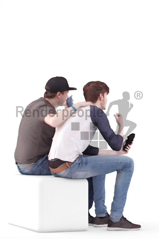 Scanned human 3D model by Renderpeople – two european males, sitting and playing video games