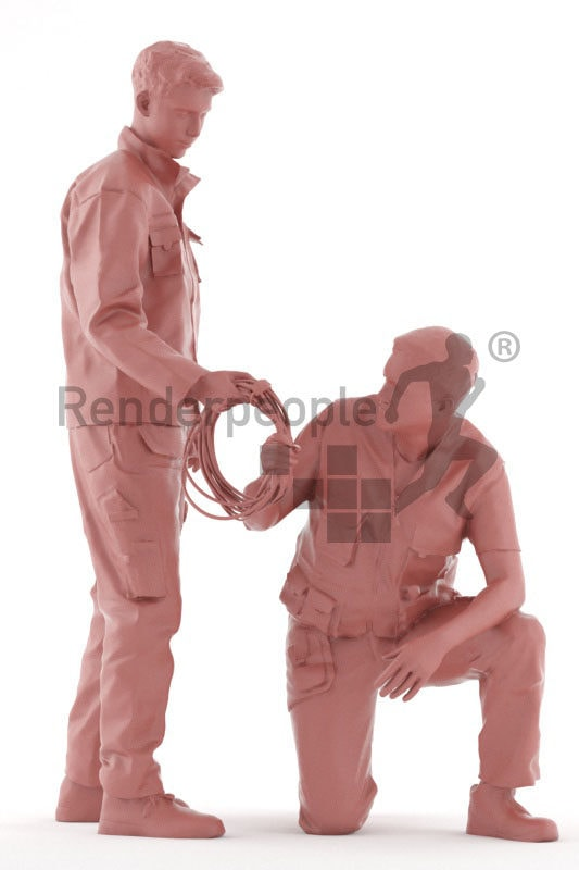 3d people worker, white 3d men group fixing wires