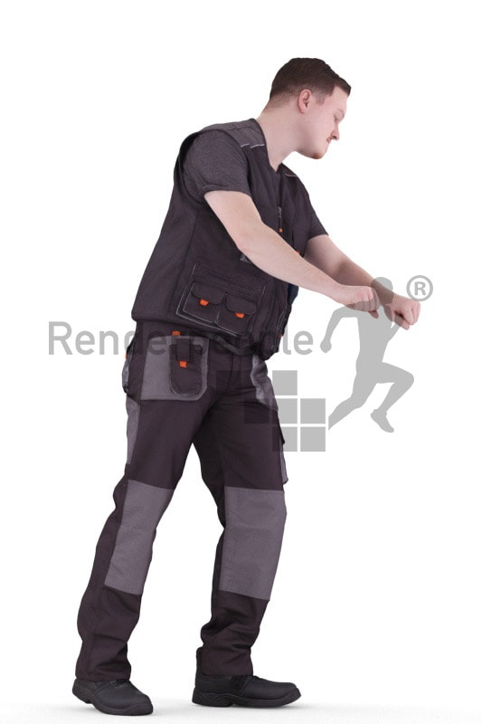 3d people worker, white 3d man standing and operating a lift truck