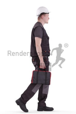3d people worker, white 3d man walking with his equipment