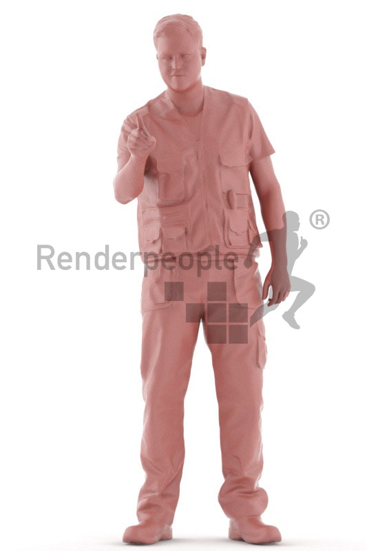 3d people worker, white 3d man operating a machine
