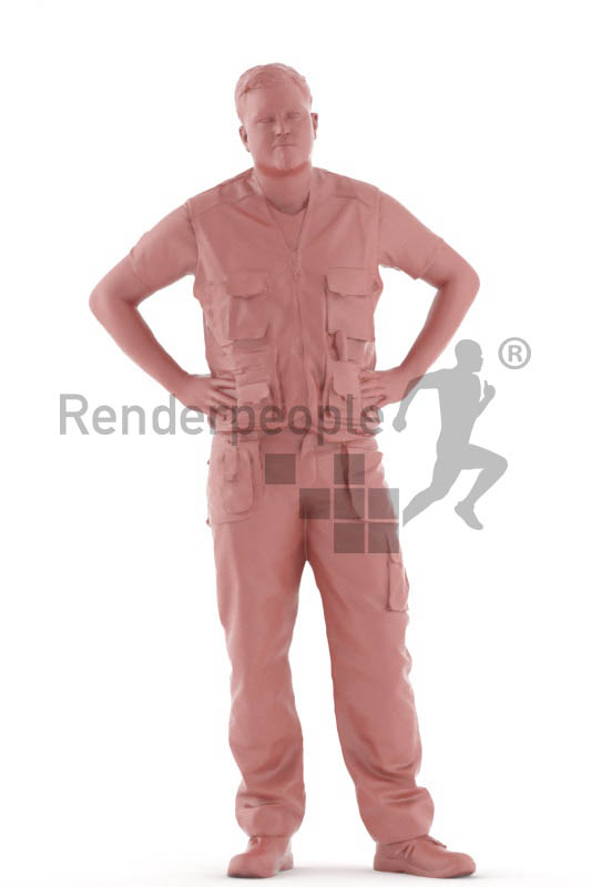 3d people worker, white 3d man standing and waiting
