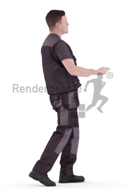 3d people worker, white 3d man transporting a package