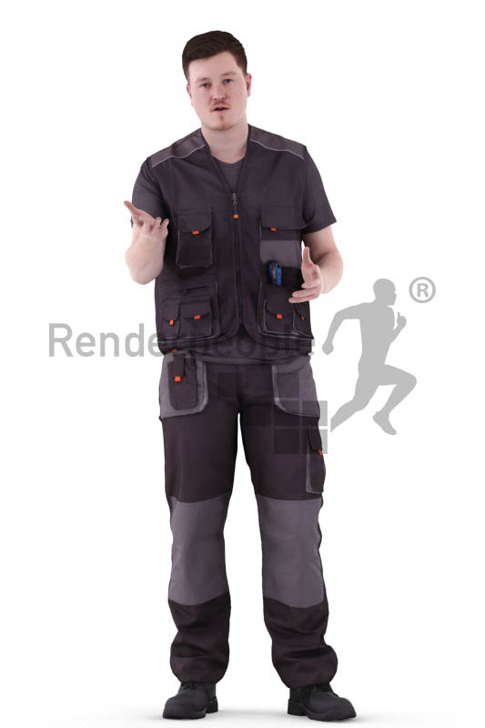 3d people worker, white 3d man standing an talking