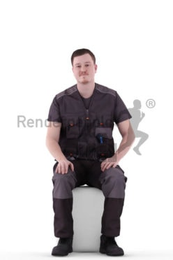3d people worker, white 3d man sitting and waiting