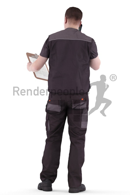 3d people worker, white 3d man standing, looking at his clipboard and calling