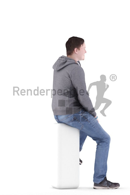 3D People model for 3ds Max and Blender – european man in daily look, sitting on a chair