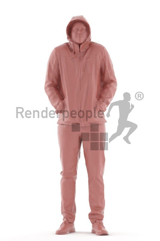 3d people outdoor, white 3d man standing
