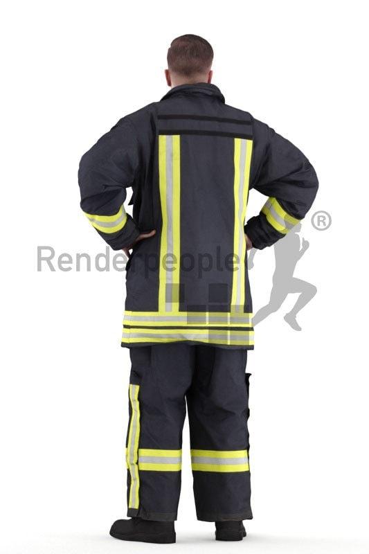 Scanned human 3D model by Renderpeople – fireworker, standing