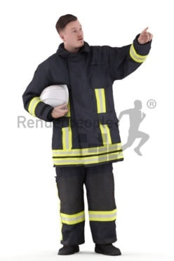 3D People model for 3ds Max and Cinema 4D – european man in fireworker wear, pointing on something