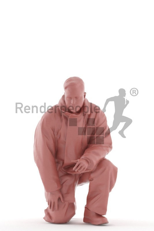 3D People model for 3ds Max and Cinema 4D – european man in fireworker wear, crouching