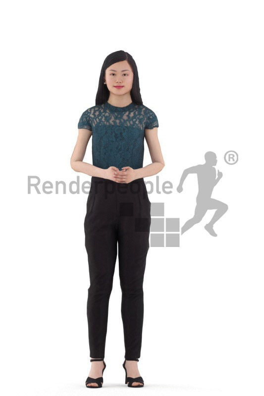 3D People model for animations – asian woman in chic business look, standing and talking