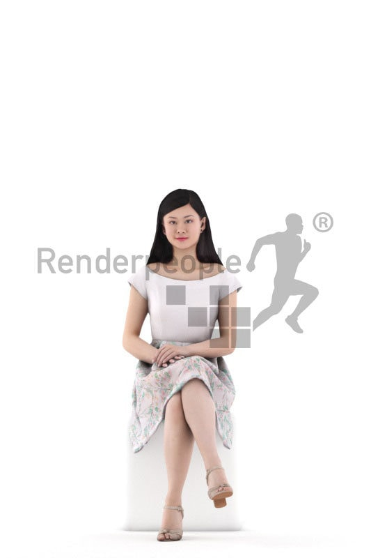 3D People model for 3ds Max and Maya – asian woman in event look, sitting and smiling