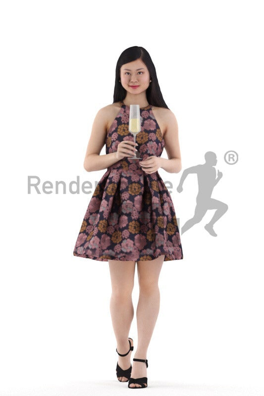 Photorealistic 3D People model by Renderpeople – asian woman in chic dress, walking and holding a champagne glass