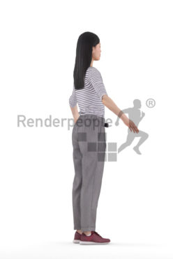 Rigged 3D People model for Maya and Cinema 4D – asian woman in smart casual loook