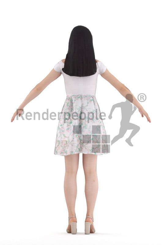 3d people casual, asian woman rigged