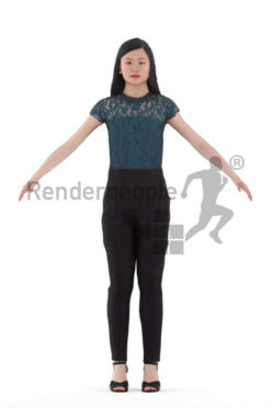3d people business, asian woman rigged