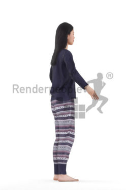 3d people sleepwear, asian woman rigged