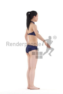 3d people beach/pool, rigged asian woman